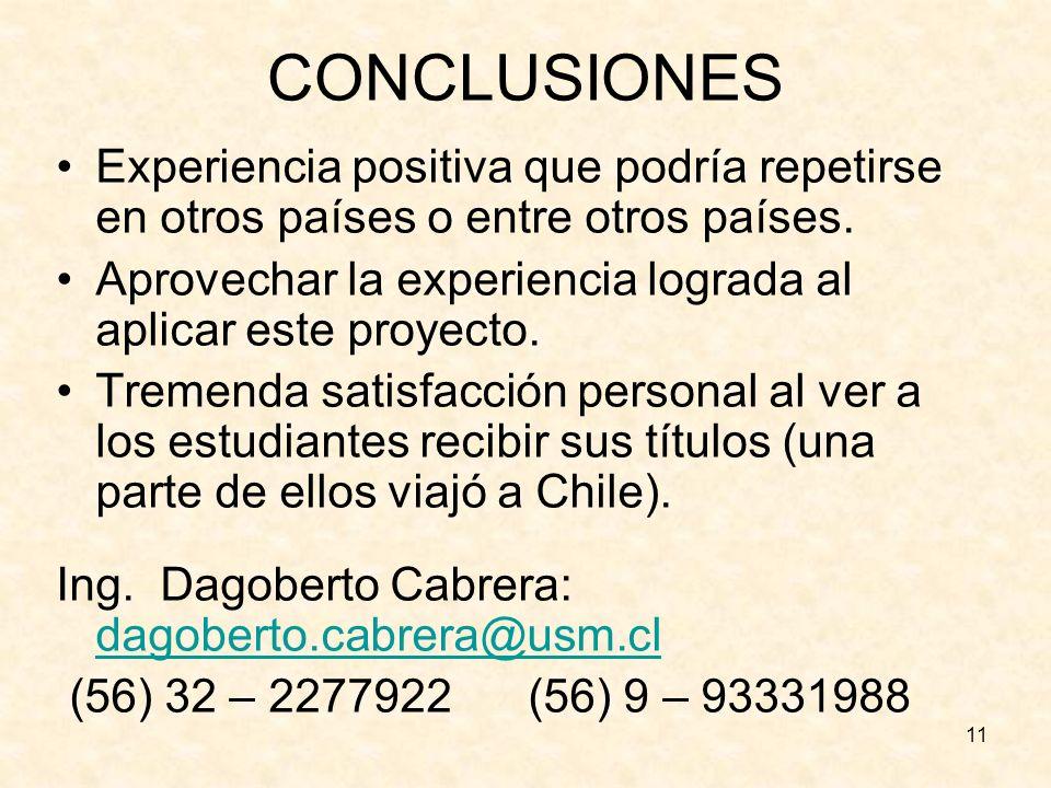 CONCLUSIONES Experiencia positiva que podría repetirse en otros países o entre otros países.