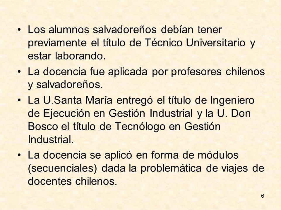 Los alumnos salvadoreños debían tener previamente el título de Técnico Universitario y estar laborando.