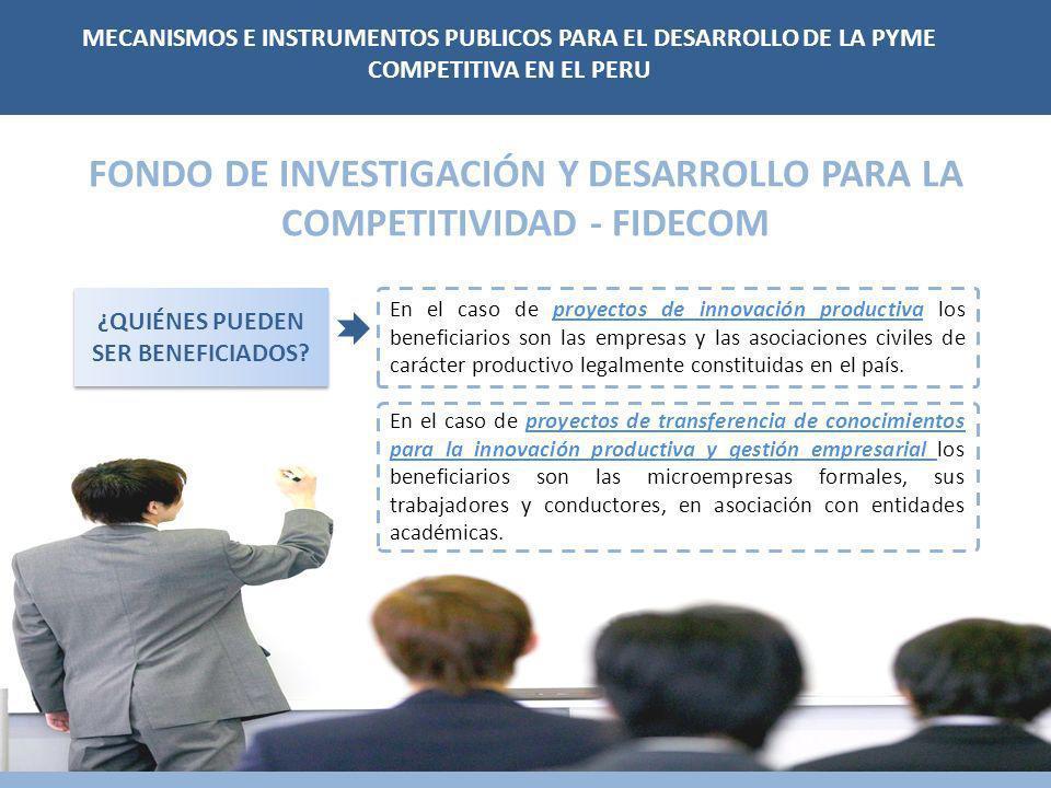 FONDO DE INVESTIGACIÓN Y DESARROLLO PARA LA COMPETITIVIDAD - FIDECOM