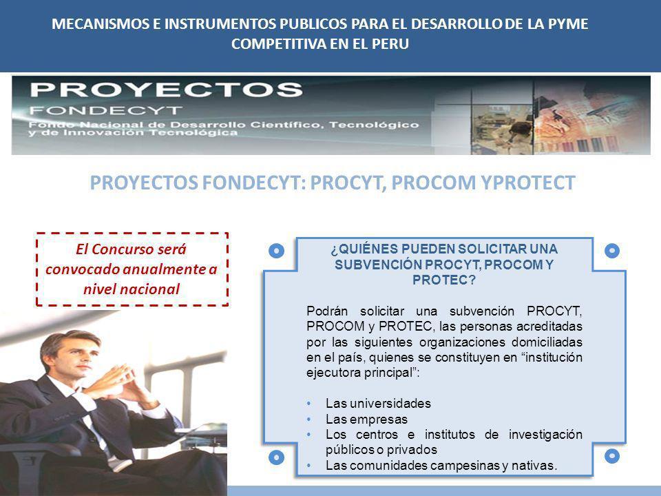 PROYECTOS FONDECYT: PROCYT, PROCOM YPROTECT