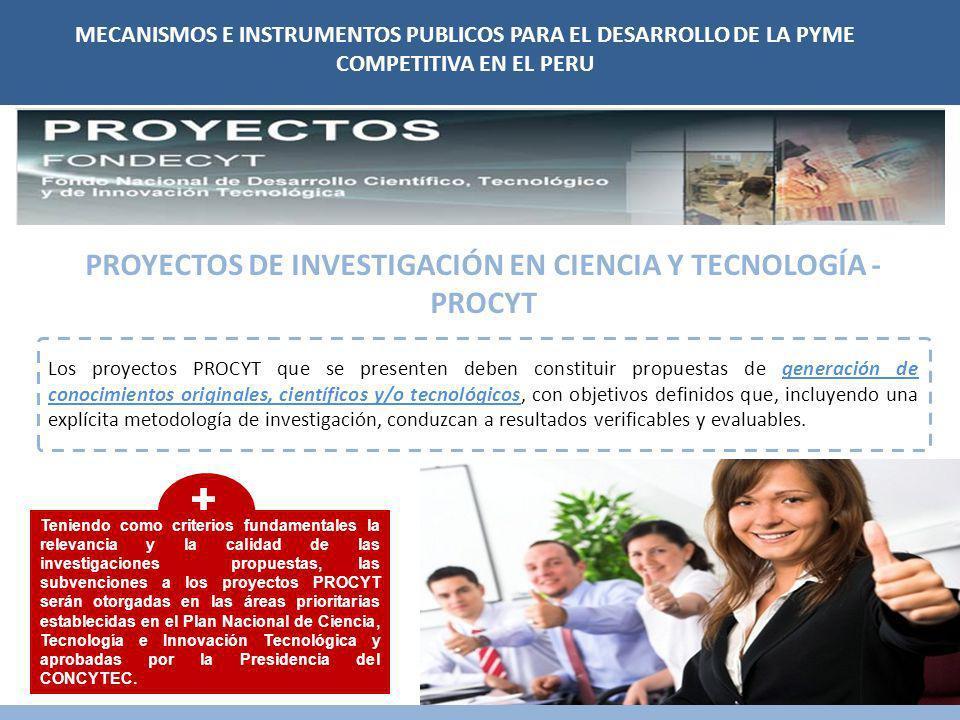 PROYECTOS DE INVESTIGACIÓN EN CIENCIA Y TECNOLOGÍA - PROCYT