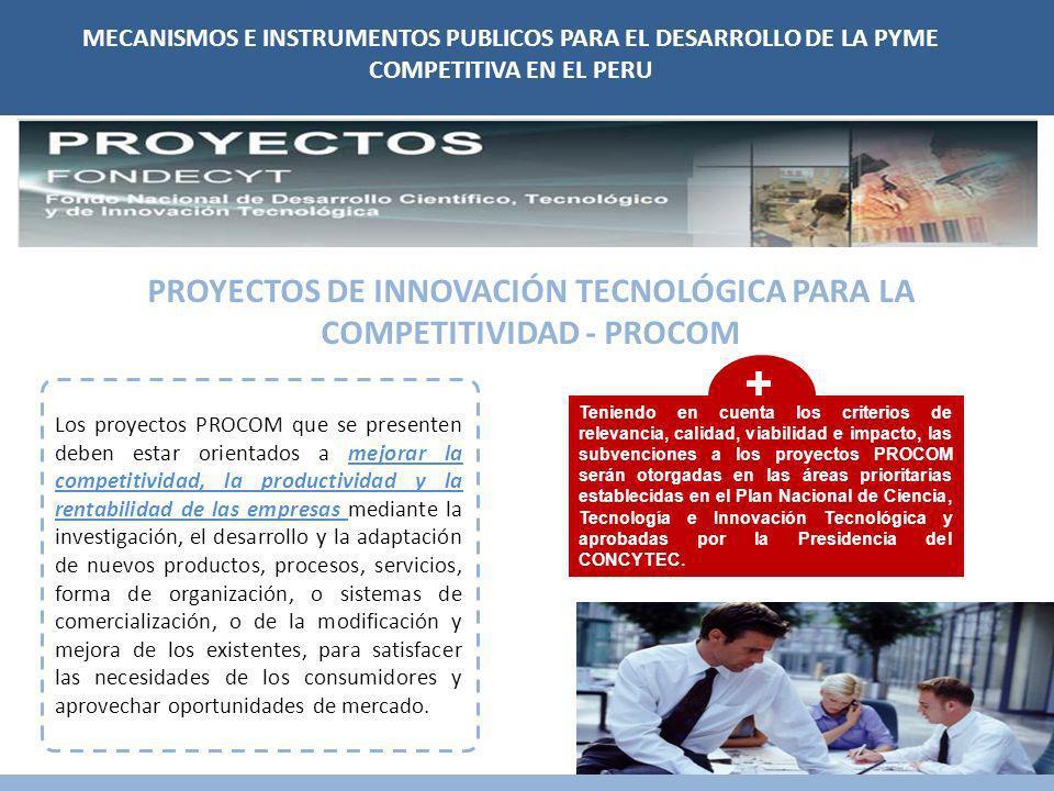 PROYECTOS DE INNOVACIÓN TECNOLÓGICA PARA LA COMPETITIVIDAD - PROCOM