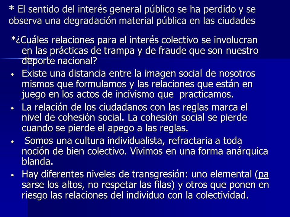 * El sentido del interés general público se ha perdido y se observa una degradación material pública en las ciudades