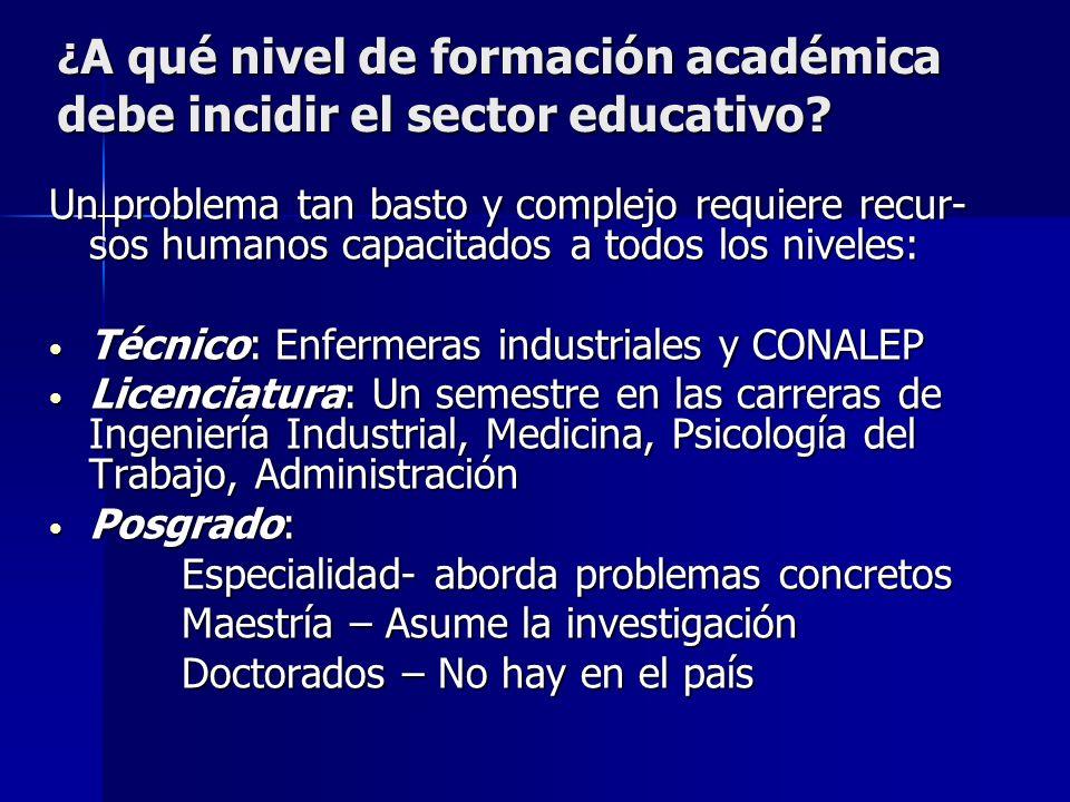 ¿A qué nivel de formación académica debe incidir el sector educativo