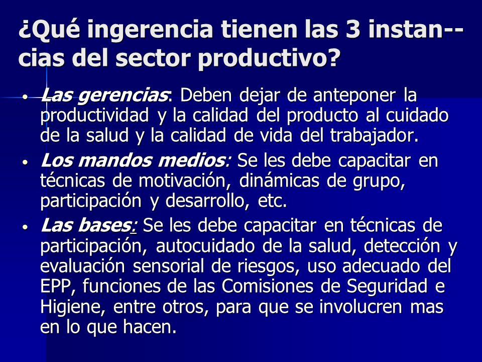 ¿Qué ingerencia tienen las 3 instan-- cias del sector productivo