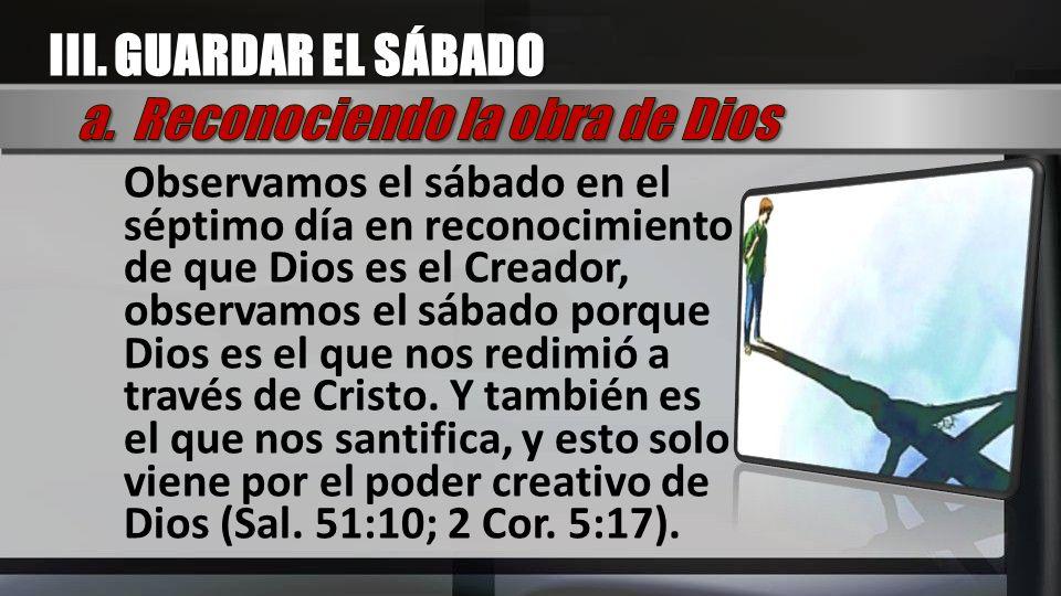 a. Reconociendo la obra de Dios