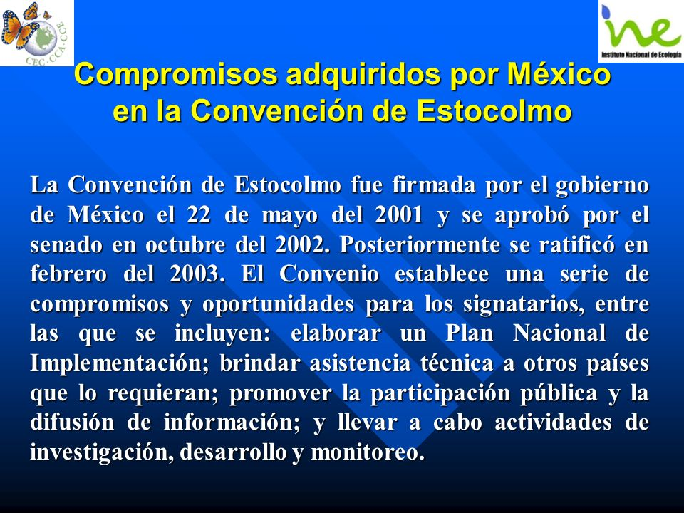 Compromisos adquiridos por México en la Convención de Estocolmo