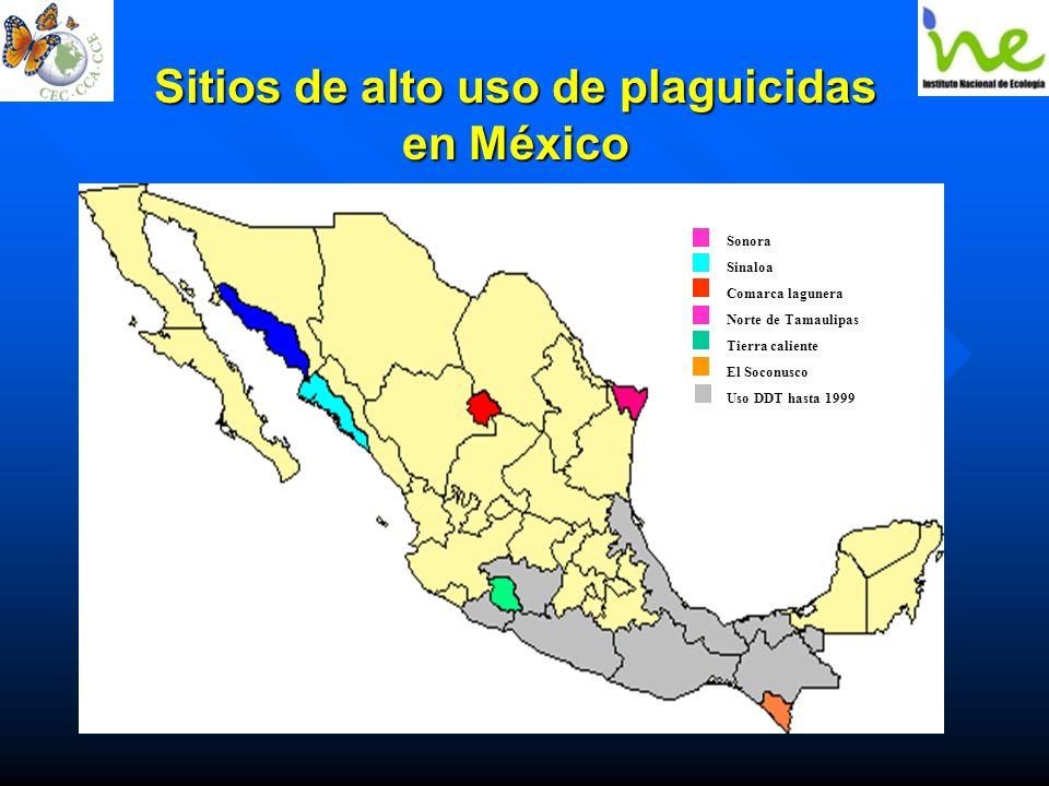 Sitios de alto uso de plaguicidas en México