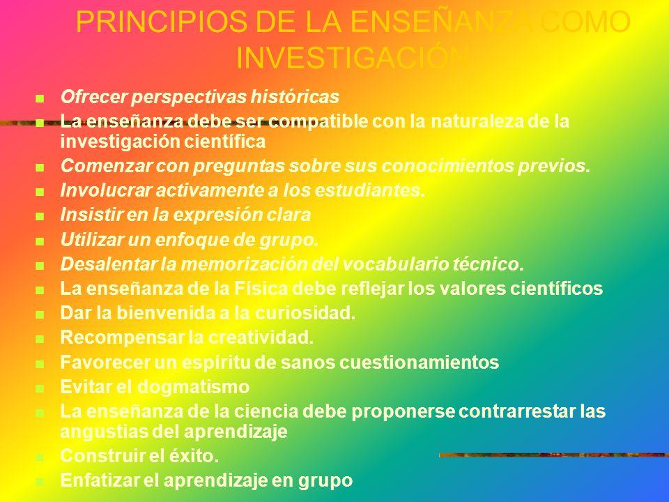 PRINCIPIOS DE LA ENSEÑANZA COMO INVESTIGACIÓN