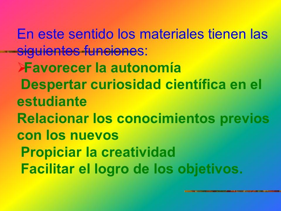 En este sentido los materiales tienen las siguientes funciones: