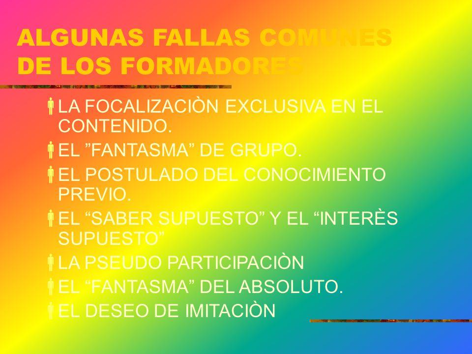 ALGUNAS FALLAS COMUNES DE LOS FORMADORES
