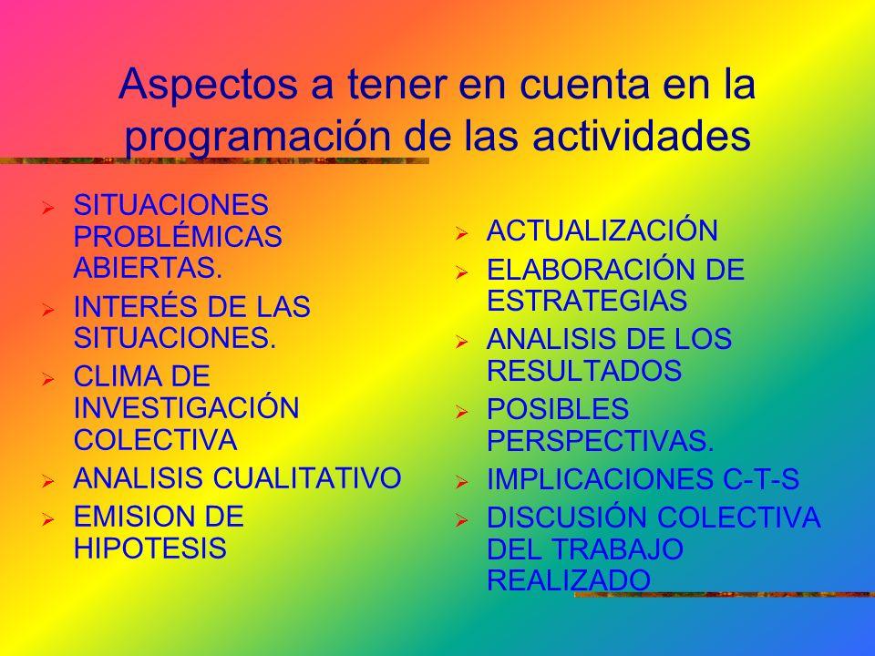 Aspectos a tener en cuenta en la programación de las actividades