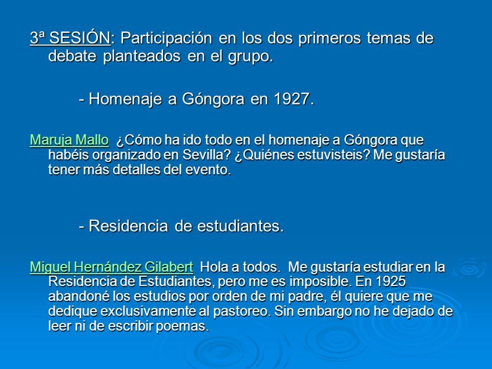 3ª SESIÓN: Participación en los dos primeros temas de debate planteados en el grupo.