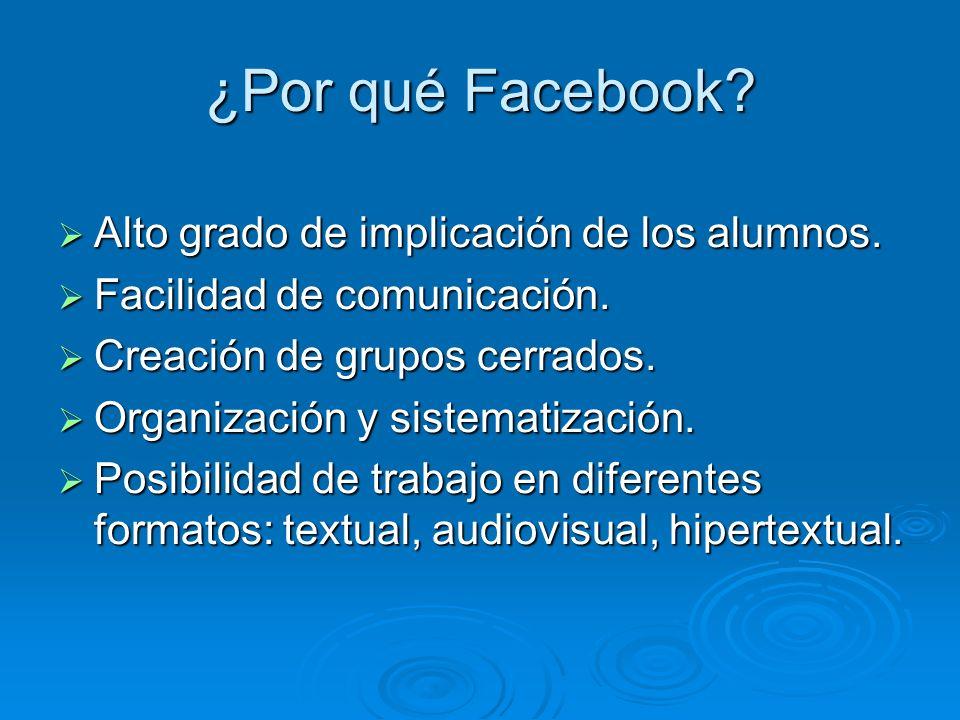 ¿Por qué Facebook Alto grado de implicación de los alumnos.