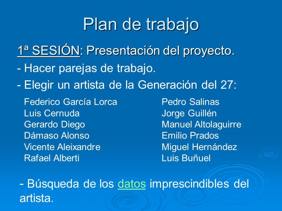 Plan de trabajo 1ª SESIÓN: Presentación del proyecto.