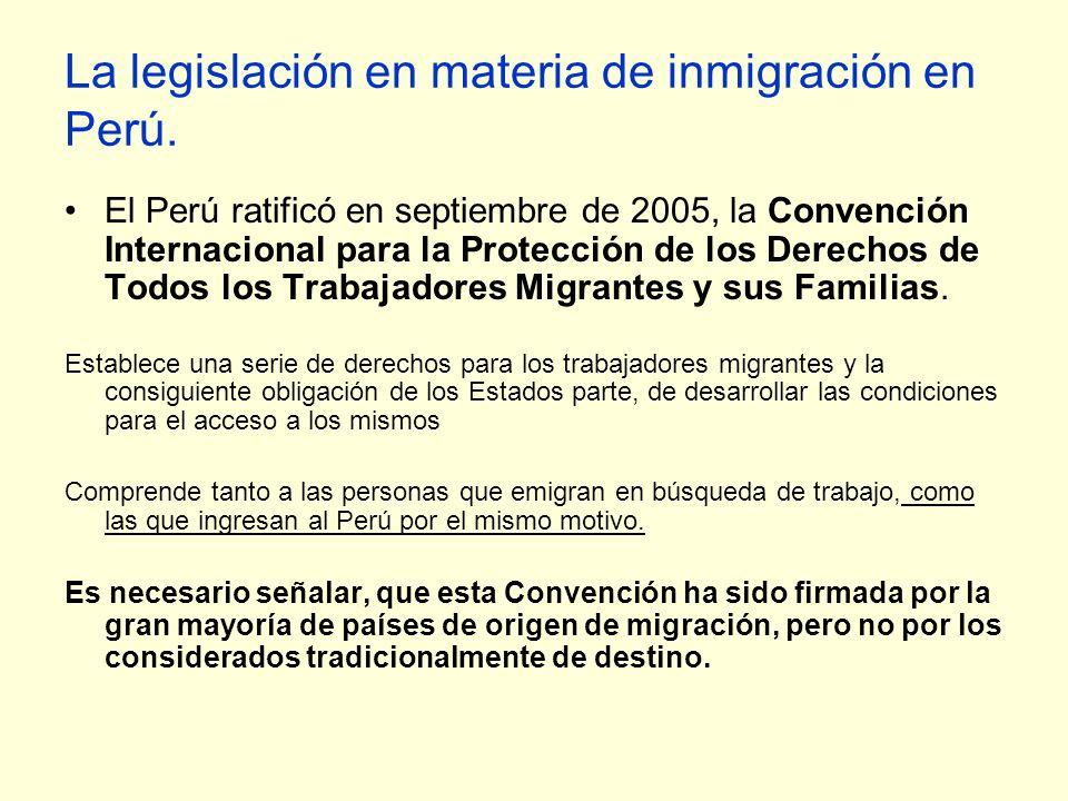 La legislación en materia de inmigración en Perú.