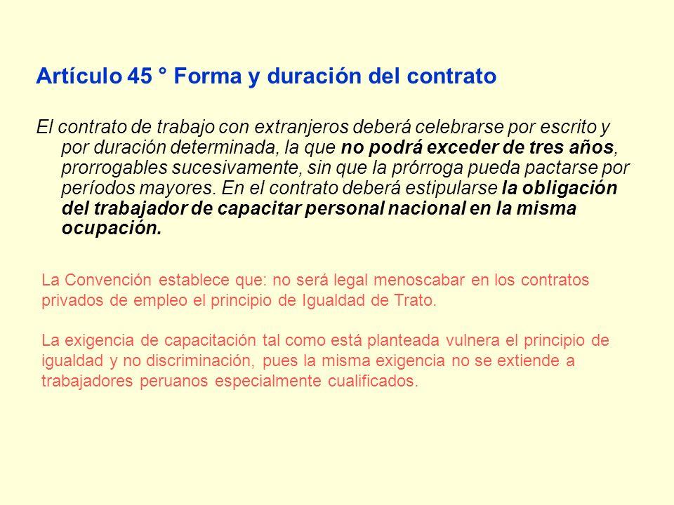 Artículo 45 ° Forma y duración del contrato