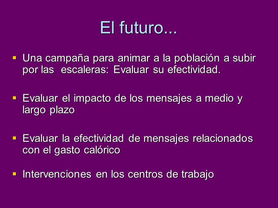 El futuro... Una campaña para animar a la población a subir por las escaleras: Evaluar su efectividad.