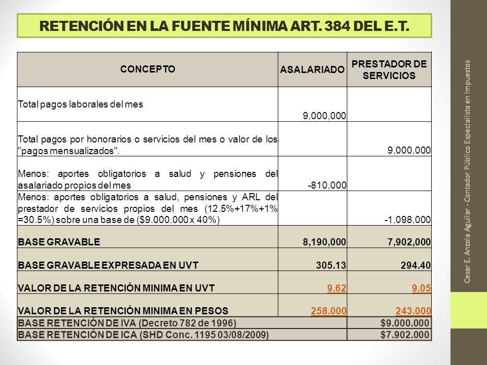 RETENCIÓN EN LA FUENTE MÍNIMA ART. 384 DEL E.T.