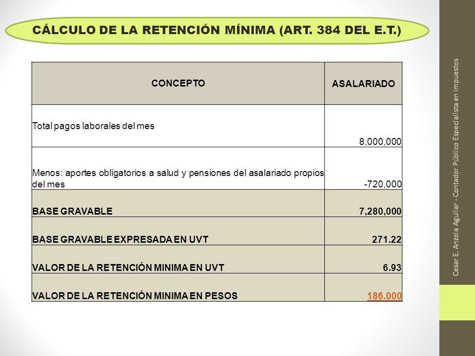 CÁLCULO DE LA RETENCIÓN MÍNIMA (ART. 384 DEL E.T.)
