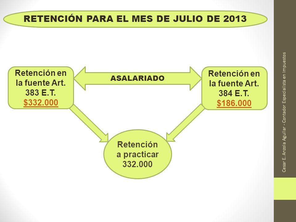 RETENCIÓN PARA EL MES DE JULIO DE 2013