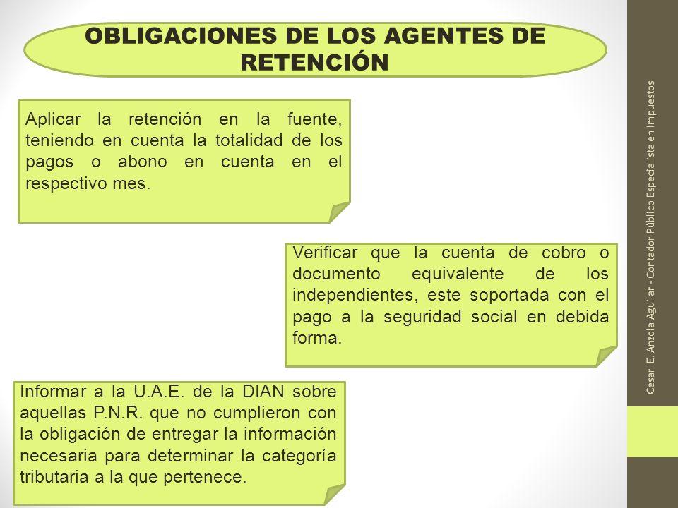 OBLIGACIONES DE LOS AGENTES DE RETENCIÓN