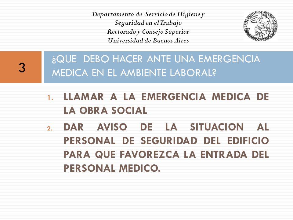 ¿QUE DEBO HACER ANTE UNA EMERGENCIA MEDICA EN EL AMBIENTE LABORAL