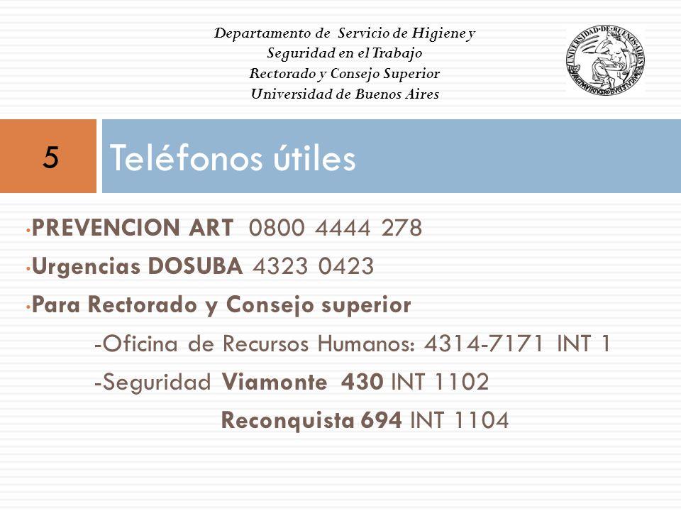 Teléfonos útiles 5 PREVENCION ART 0800 4444 278