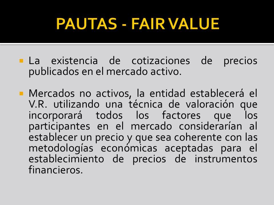 PAUTAS - FAIR VALUE La existencia de cotizaciones de precios publicados en el mercado activo.