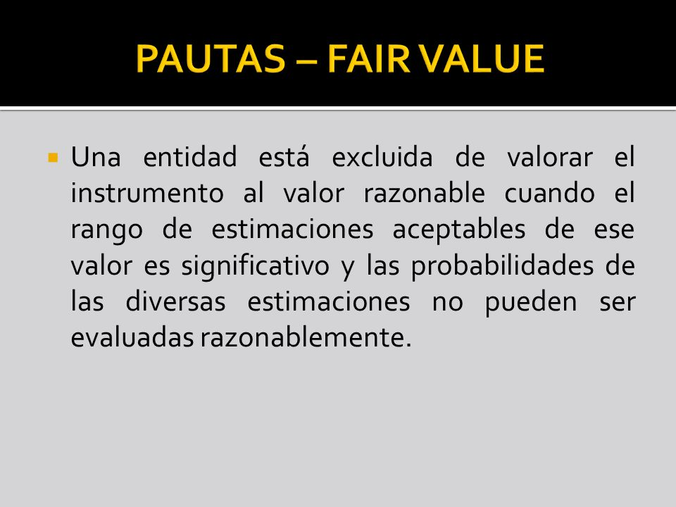 PAUTAS – FAIR VALUE