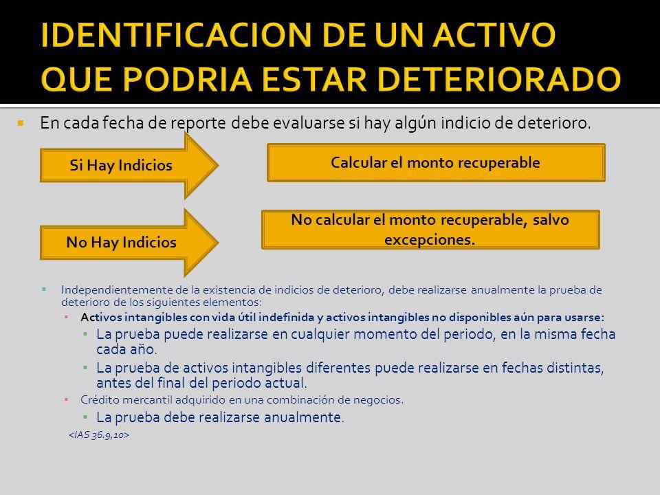 IDENTIFICACION DE UN ACTIVO QUE PODRIA ESTAR DETERIORADO
