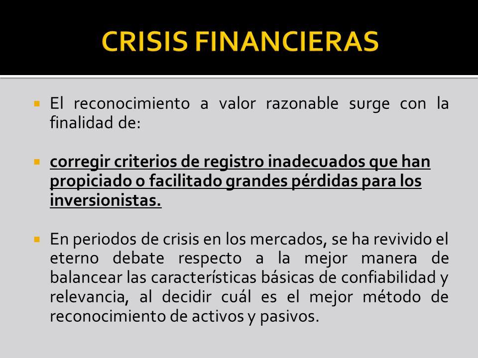 CRISIS FINANCIERAS El reconocimiento a valor razonable surge con la finalidad de:
