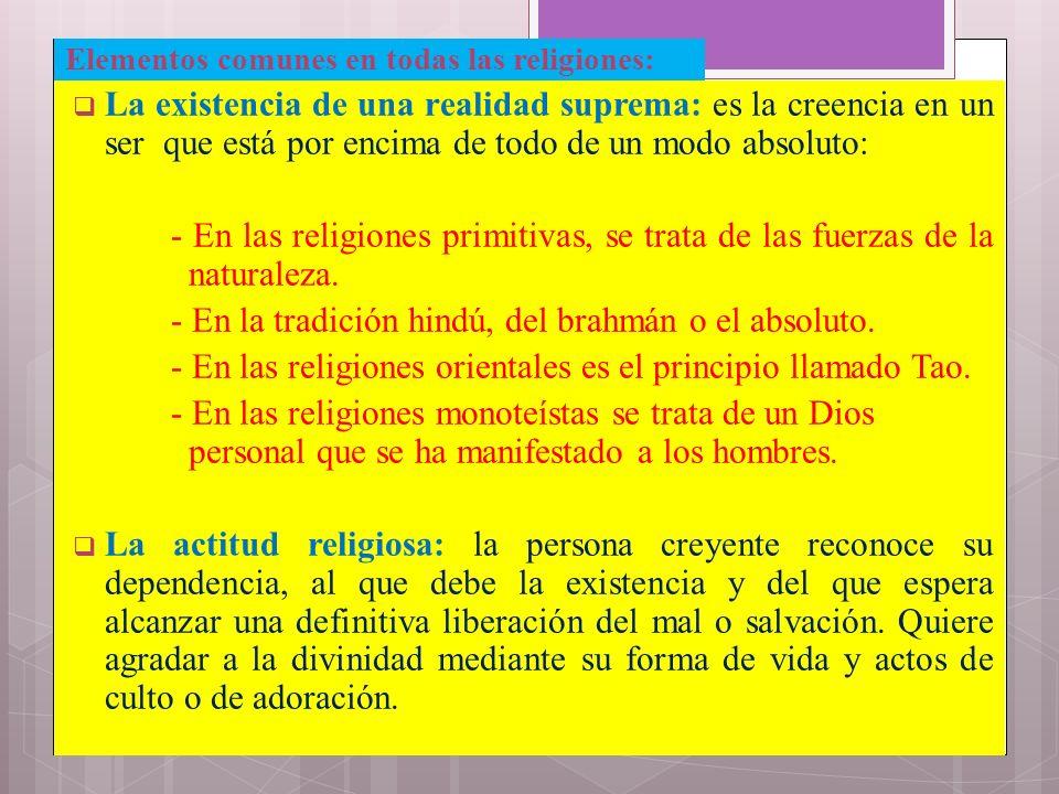 Elementos comunes en todas las religiones: