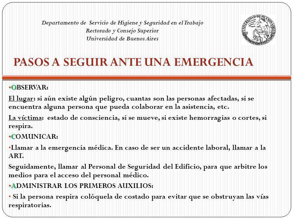 Pasos a seguir ante una emergencia
