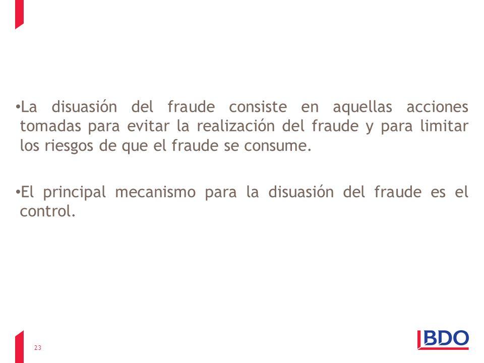 La disuasión del fraude consiste en aquellas acciones tomadas para evitar la realización del fraude y para limitar los riesgos de que el fraude se consume.