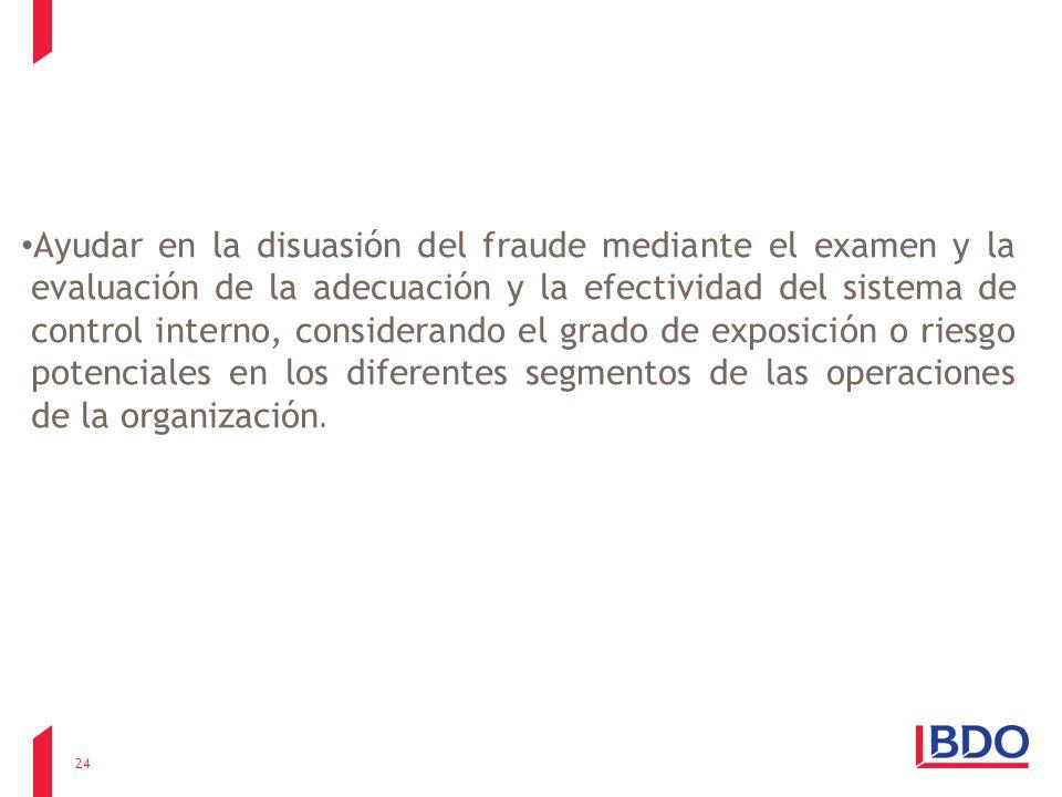 Ayudar en la disuasión del fraude mediante el examen y la evaluación de la adecuación y la efectividad del sistema de control interno, considerando el grado de exposición o riesgo potenciales en los diferentes segmentos de las operaciones de la organización.