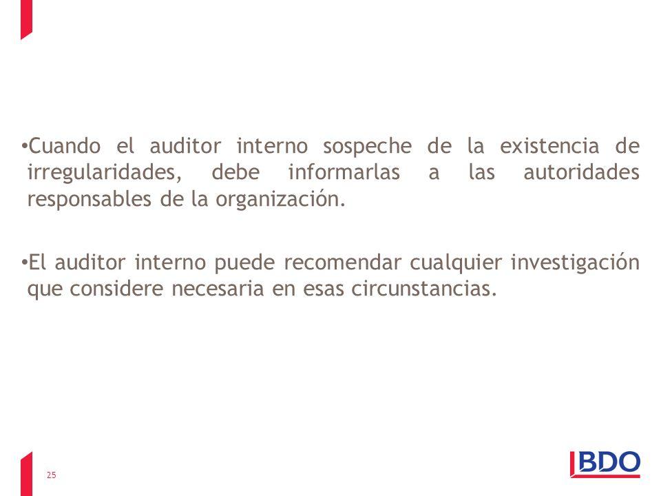 Cuando el auditor interno sospeche de la existencia de irregularidades, debe informarlas a las autoridades responsables de la organización.