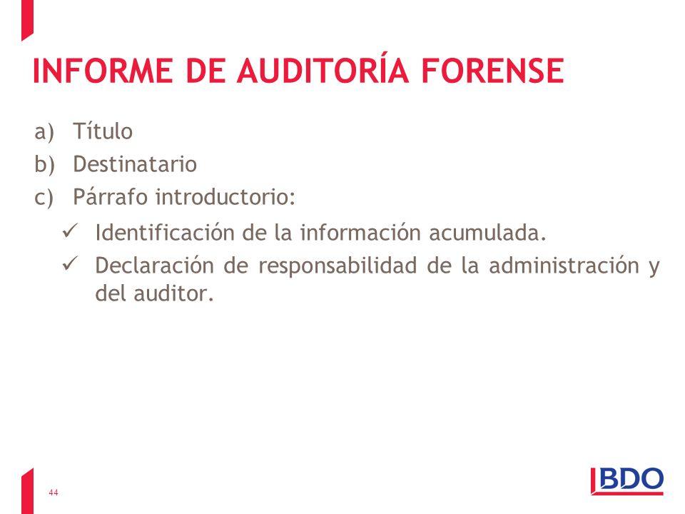 INFORME DE AUDITORÍA FORENSE