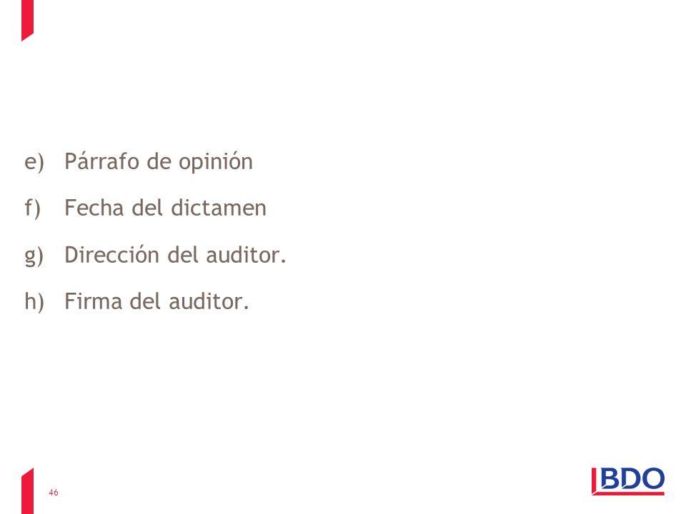 Párrafo de opinión Fecha del dictamen Dirección del auditor. Firma del auditor.