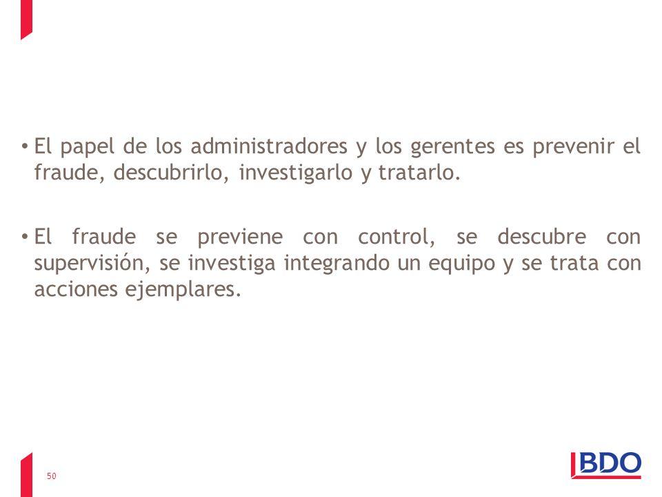 El papel de los administradores y los gerentes es prevenir el fraude, descubrirlo, investigarlo y tratarlo.