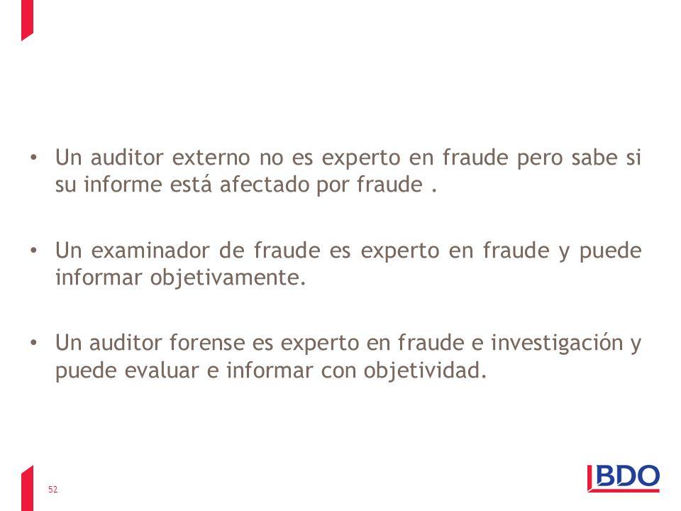 Un auditor externo no es experto en fraude pero sabe si su informe está afectado por fraude .