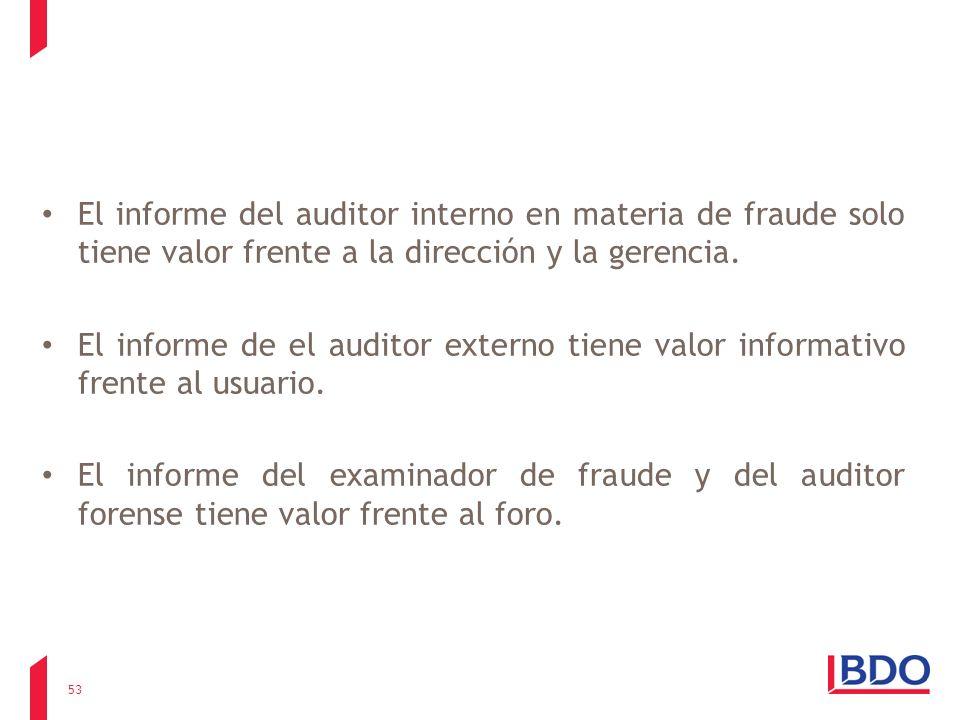 El informe del auditor interno en materia de fraude solo tiene valor frente a la dirección y la gerencia.