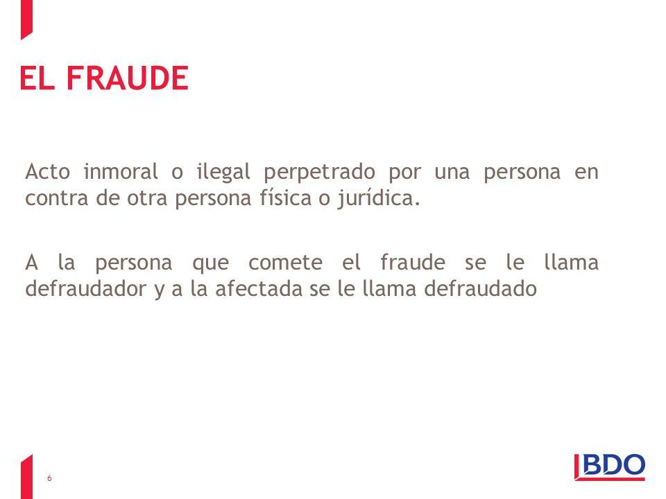 EL FRAUDE Acto inmoral o ilegal perpetrado por una persona en contra de otra persona física o jurídica.