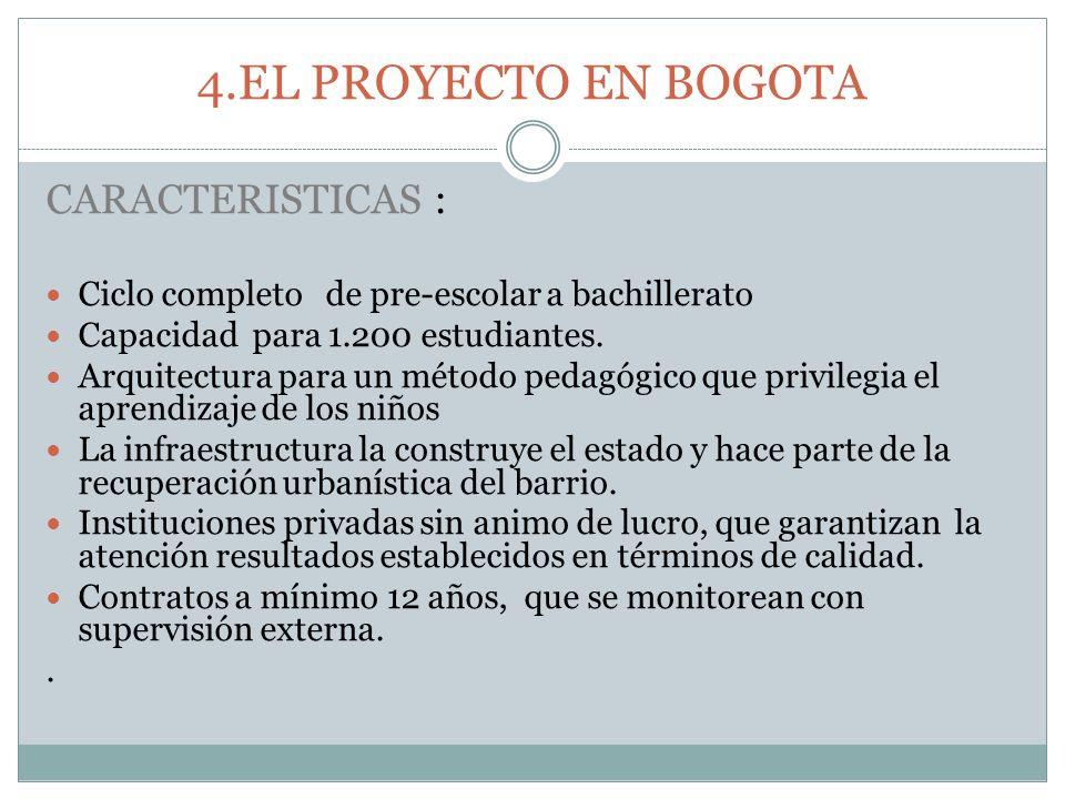 4.EL PROYECTO EN BOGOTA CARACTERISTICAS :