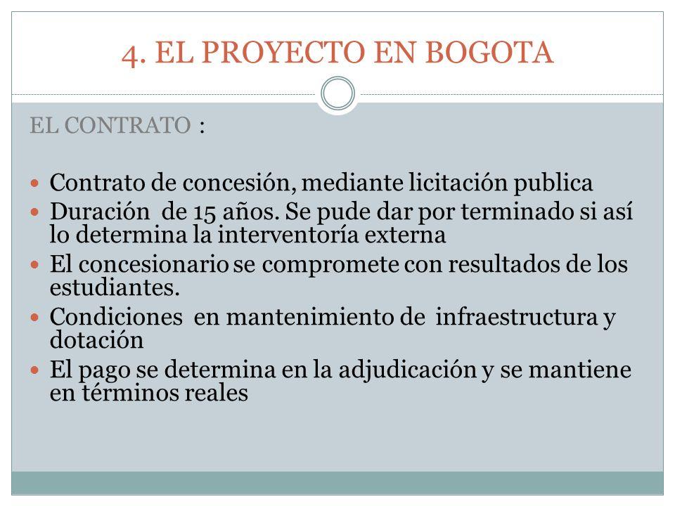 4. EL PROYECTO EN BOGOTA EL CONTRATO : Contrato de concesión, mediante licitación publica.