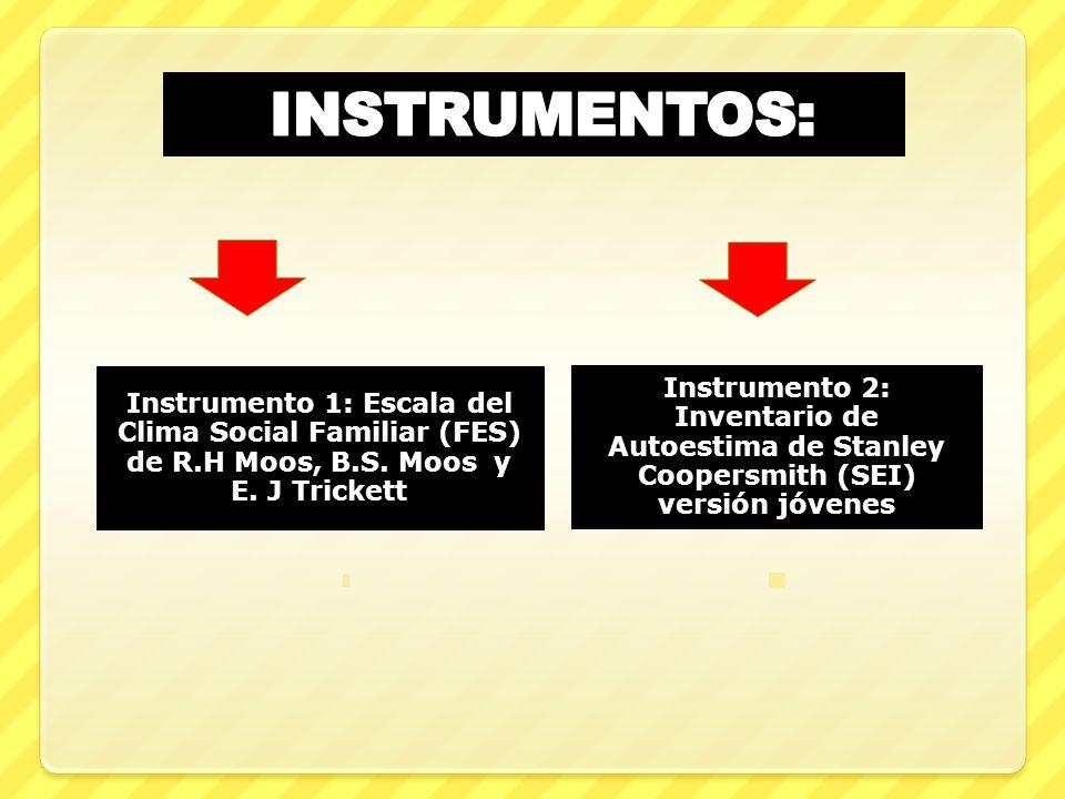 INSTRUMENTOS: Instrumento 1: Escala del Clima Social Familiar (FES) de R.H Moos, B.S. Moos y E. J Trickett.