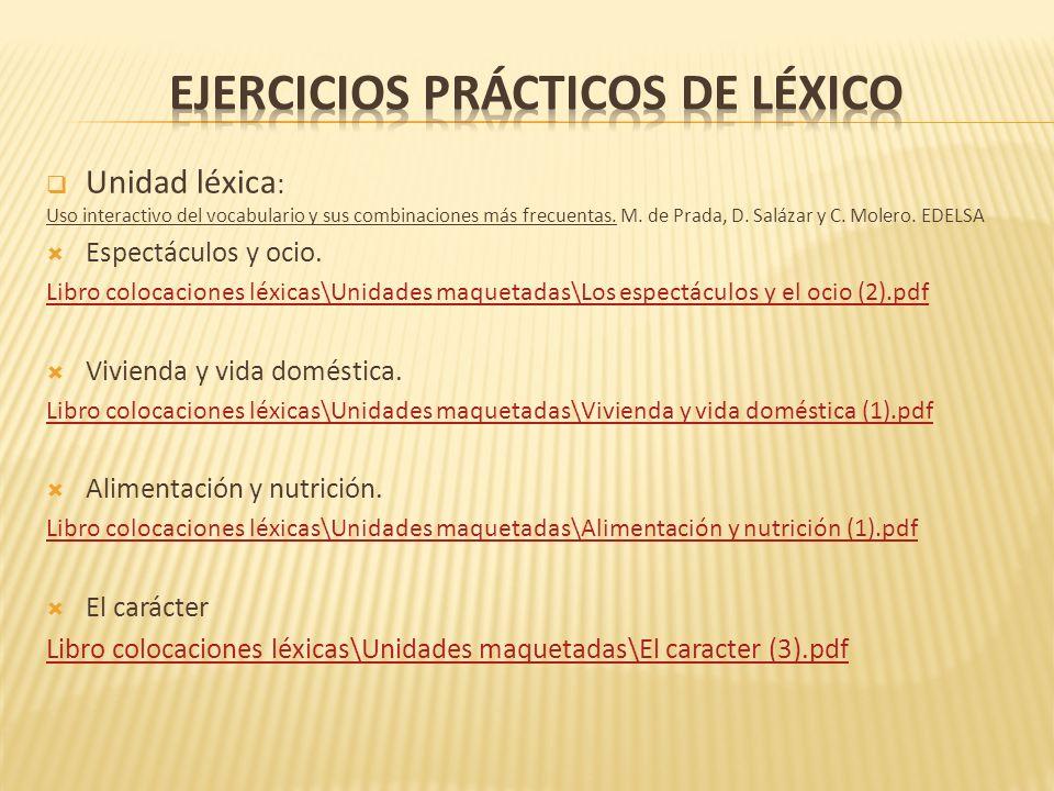 Ejercicios prácticos de léxico