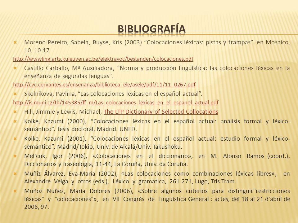 bibliografía Moreno Pereiro, Sabela, Buyse, Kris (2003) Colocaciones léxicas: pistas y trampas . en Mosaico, 10, 10-17.