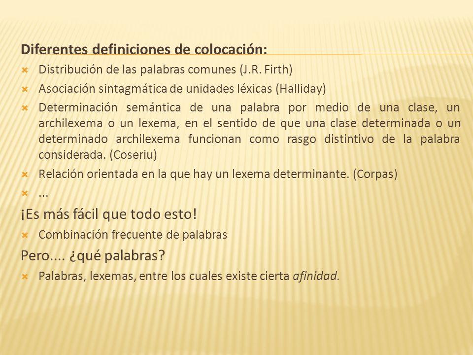 Diferentes definiciones de colocación: