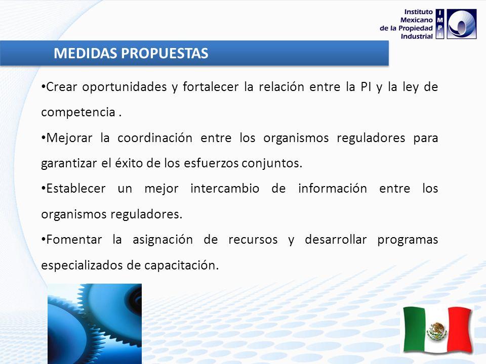 MEDIDAS PROPUESTAS Crear oportunidades y fortalecer la relación entre la PI y la ley de competencia .